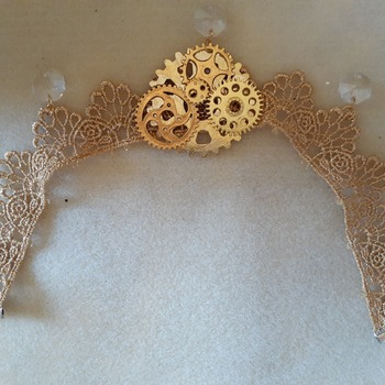 Golden lace and abstract steampunk choker