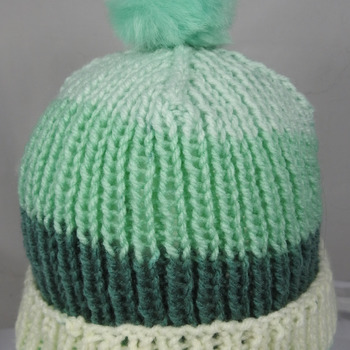 Hand Knitted Women's Striped Winter Hat With A Light Green Pom Pom - Free Shipping