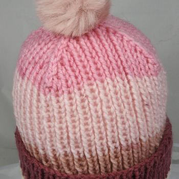 Hand Knitted Women's Striped Winter Hat With A Light Pink Pom Pom - Free Shipping