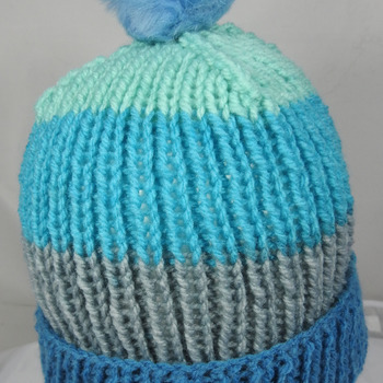 Hand Knitted Women's Striped Winter Hat With A Light Blue Pom Pom - Free Shipping