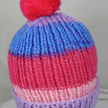 Hand Knitted Women's Striped Winter Hat With A Bright Pink Pom Pom - Free Shipping