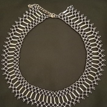 Handmade Black White Silver Necklace