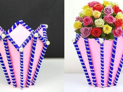 Handmade Paper and Cardboard Stylish Flower Vase || DIY Easy Paper Flower Vase