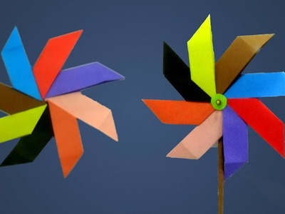 How To Make a New Design Paper Windmill for Kids That Spins - DIY Paper Pinwheel At Home