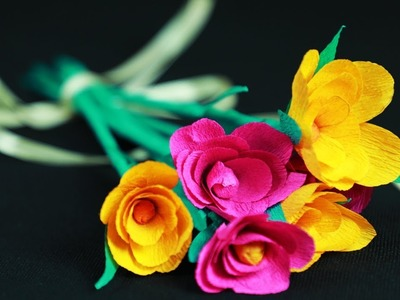 How to Make Colourful Paper Flowers for Wall Decoration - Simple DIY paper flowers making