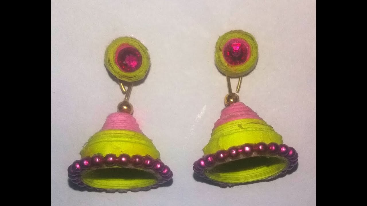How to make quilling jhumka with stud - DIY Crafts