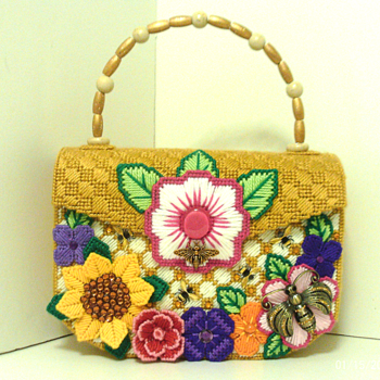 Jeweled Bumble Bee & Floral Large Handbag