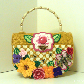 Jeweled Bumble Bee & Floral large Trunk Handbag