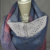 Knitted Women's Blue, Pink And White Striped Triangular Lace Effect Shawl – Free Shipping
