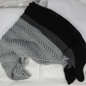 Knitted Women's Shades Of Grey And Black Striped Triangular Lace Effect Shawl – Free Shipping