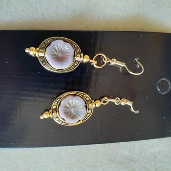 Lavender flower framed boho earrings