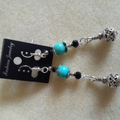 Long dangling blue and silvery beaded earrings