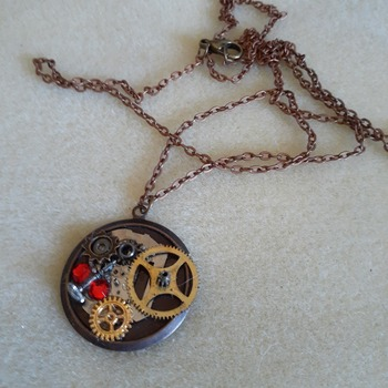 Mixed media steampunk inspired necklace
