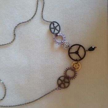 Mixed metals cogs and wheels necklace