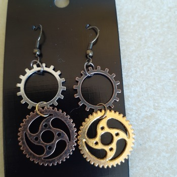 Mixed metals steampunk earrings
