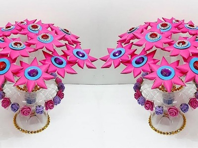 New Guldasta made from paper flower and plastic bottle at home | DIY paper Flower Guldasta