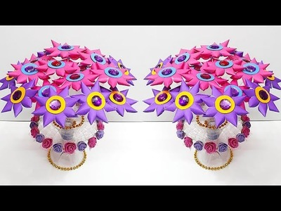 New Guldasta made from plastic bottle & paper flower at home| Best out of waste Guldasta
