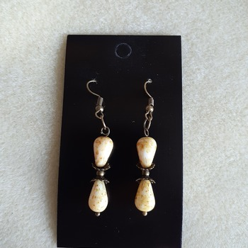 Picasso tan beaded earrings