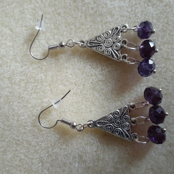 Purple glass beaded and silvery triangle earrings