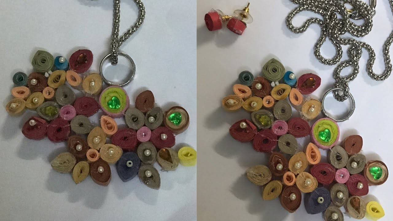QUILLING JEWELLERY. HOW TO MAKE PAPER QUILLING JEWELLERY. DIY NECKLACE AND EARRING. kids art