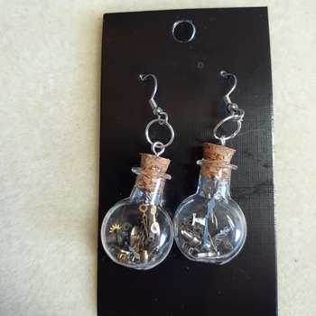 Round time in a bottle charm earrings