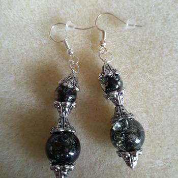 Smokey black crackle beaded earrings
