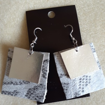 Snake print and silver leather earrings