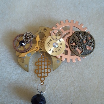 Steampunk abstract large brooch