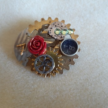Steampunk inspired brooch with rose