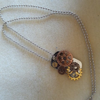 Steampunk inspired dog tag pendant