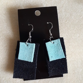 Suede turquoise and black earrings