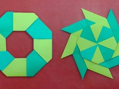 Throwing Paper Transforming Ninja Star Making Out of Paper - Shuriken Toy for Kids