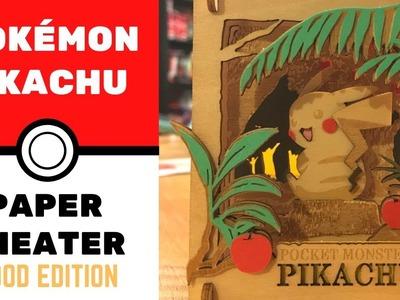 Watch me build Pikachu Pokemon Paper Theater WOOD EDITION DIY (Time Lapse)