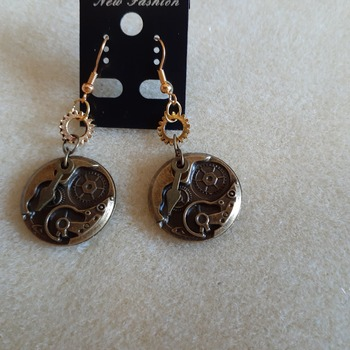 Watch parts earrings