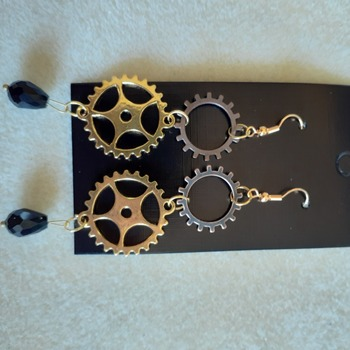 Wheeled and gear drop bead earrings