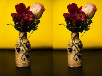 Amazing!!! DIY Flower Vase From Empty Bottle and Jute | Best out of waste idea | DIY Room Decor