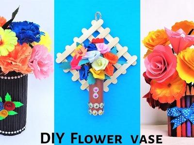 DIY: 3 Easy Flower Vase making at Home | Best out of waste