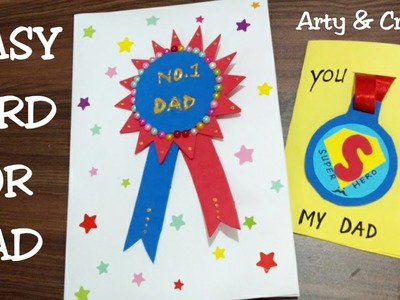 DIY Badge Card For Father. Gift Idea for Father's Day. Handmade Greeting Card for Father's Day