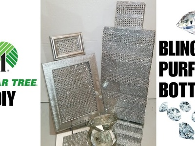 DIY BLING DIAMOND PURFUME BOTTLE GLAM WALL DECOR | DOLLAR TREE CHEAP & EASY IDEA!