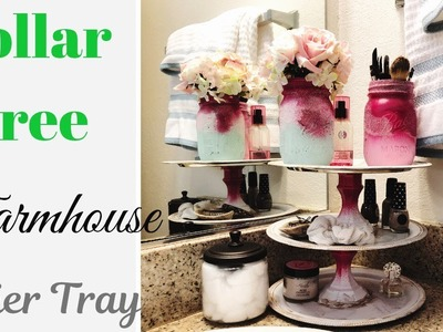 DIY Farmhouse Dollar Tree 3 Tier Tray | DIY Ombre Mason Jars