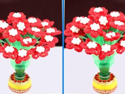 DIY Guldasta from Waste Plastic Bottle and Woolen || woolen flower guldasta || Naya guldasta banana