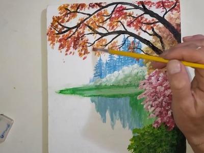 DIY Let's draw it | Autumn landscape by the river.