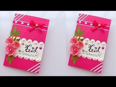 DIY Paper Craft |Beautiful Eid Card with paper How to make eid card with paper | PRETTY FLOWER IDEAS
