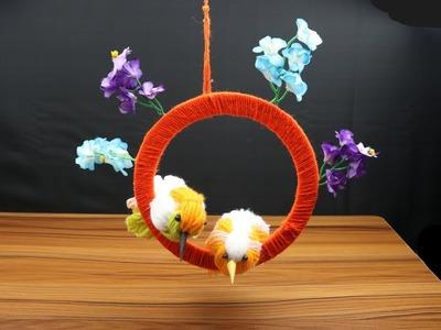 Diy ROOM decor idea.❤love Birds❤. easy woolen birds crafts.wall hangaing idea.unique.Beauty Crafts