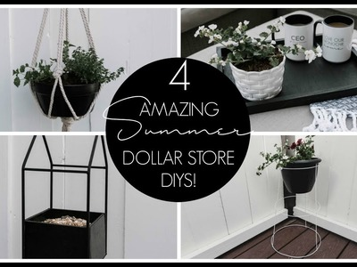 DOLLAR STORE SUMMER DIY DECOR | A Hanging Planter, Bird Feeder, Tray, & Standing Planter!