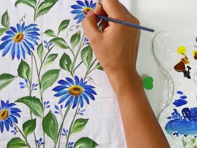 Easy & quick Cushion Cover Painting Design | Fabric Painting Designs | DIY Cushion Painting