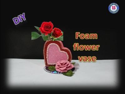 #foamcrafts#Roomdecorideas   DIY Heart shaped Flower vase out of Glitter Foam sheet   ssartscrafts