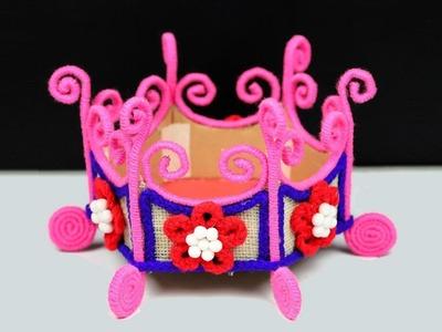 Jute and Wool Basket | DIY Woolen Flower Basket from Waste Cardboard | Jute Craft Tutorial