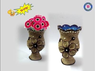 #Jute#plasticbottle#Reuse || DIY Flower Vase out of Plastic bottle and Jute |Room Decor|ssartscrafts