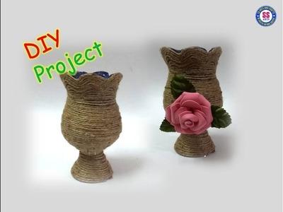 #Jutevase#Plasticbottlereuseideas | Diy Flower vase out of Plastic bottle and Jute | ssartscrafts